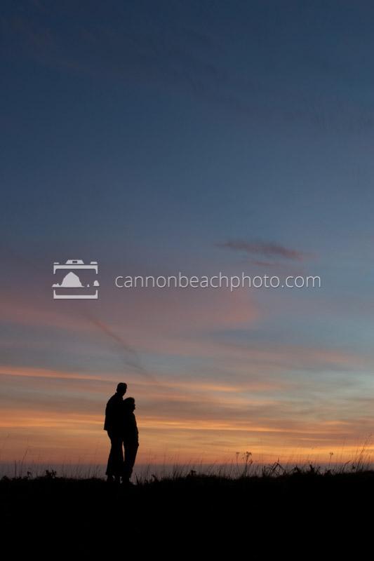 Couple Hugs at Sunset