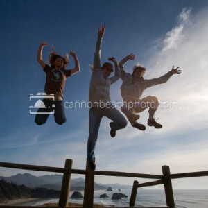 Jumping for Joy at Ecola Point