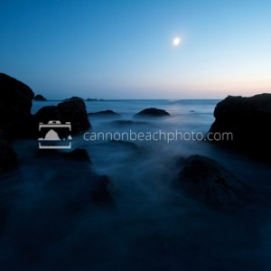 Sea Rocks and the Moon