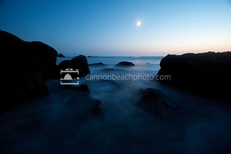 Seastacks an the Moon