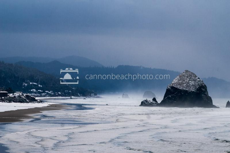 Snow on Cannon Beach