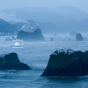 Snow on Seastacks Ecola Point