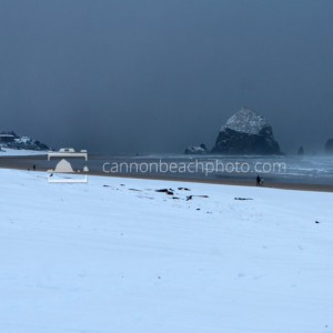 Snow on the Beach and Haystack Rock