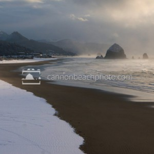 Snow on the Beach in Cannon Beach, Oregon