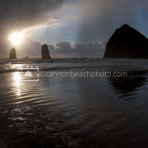 Sun Thru the Clouds at Haystack Rock