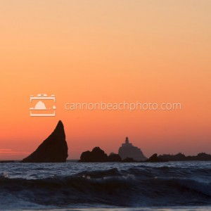 Tillamook Lighthouse at Sunset in Vertical