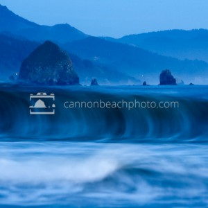 Waves Roll and Haystack Rock
