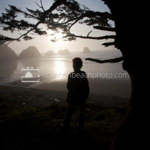 Woman Looks towards Murre Rocks at Crescent Beach