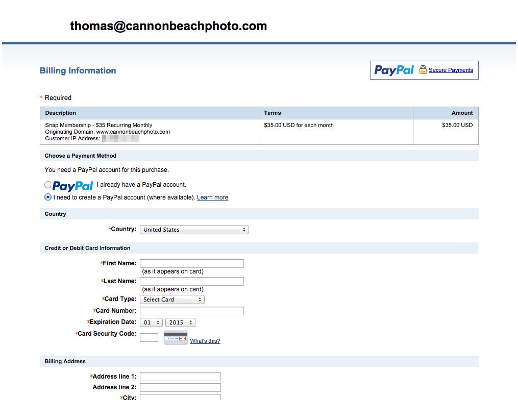 Checkout at Paypal