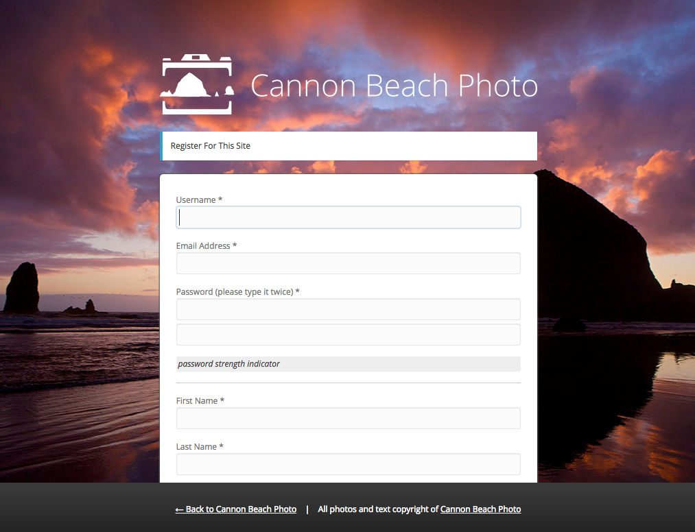 Register Your User at Cannon Beach Photo