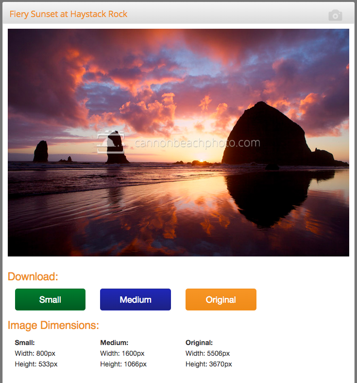 Download Your Cannon Beach Photos