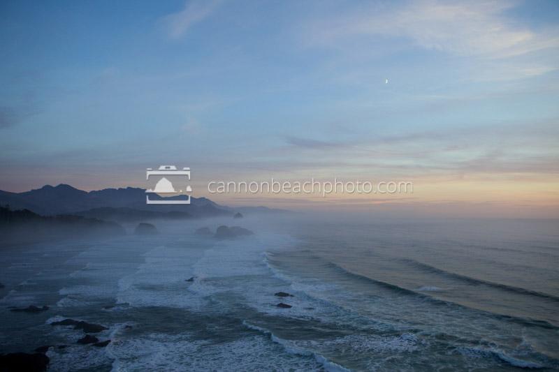 Crescent Moon Above Ecola Fog