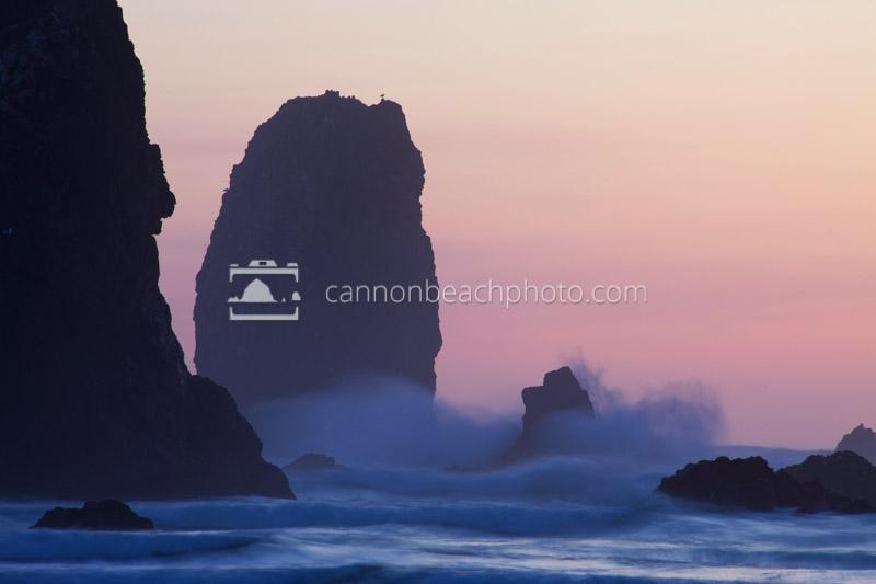 Evening Waves Splash at the Needles