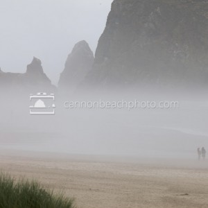 Fog and Haystack Rock in Scale
