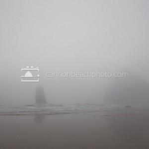 Haystack Rock Deep in Fog