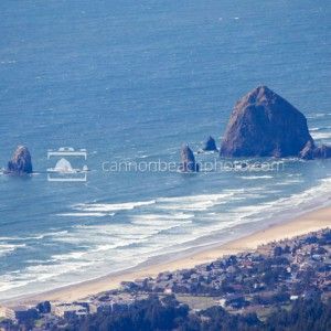 Haystack Rock and Town from Onion Peak