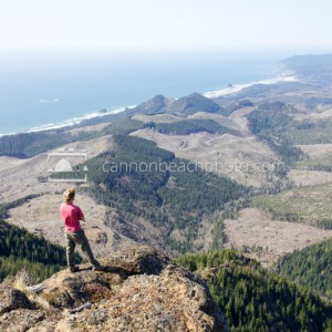 Hiker Overlooks the Coastline