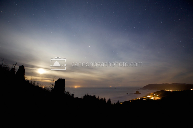 Moon, Sky and Stars Above Cannon Beach