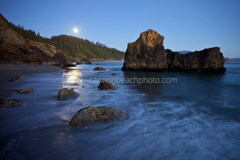 Moonlight Shimmers and Incoming Waves