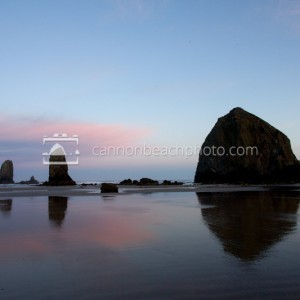 Pink Morning Before Sunrise at Haystack Rock