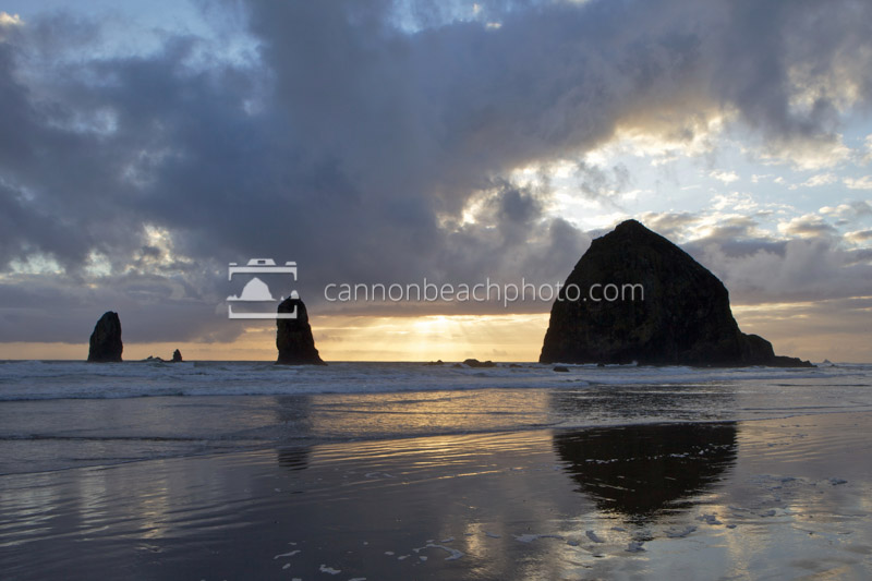 Stormy Beams and Haystack Rock, Horizontal
