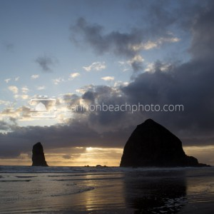 Stormy Beams and Haystack Rock, Vertical