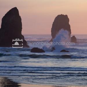 Sunset Wave Splash at the Needles