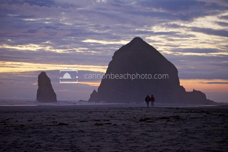 Two Walking After Dark, Haystack Rock