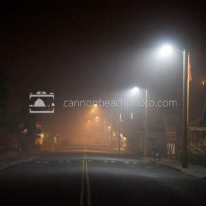 Downtown Cannon Beach – Foggy Night