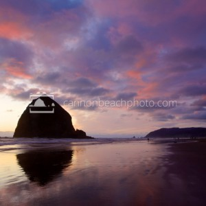 Haystack Rock with Sunset Sky
