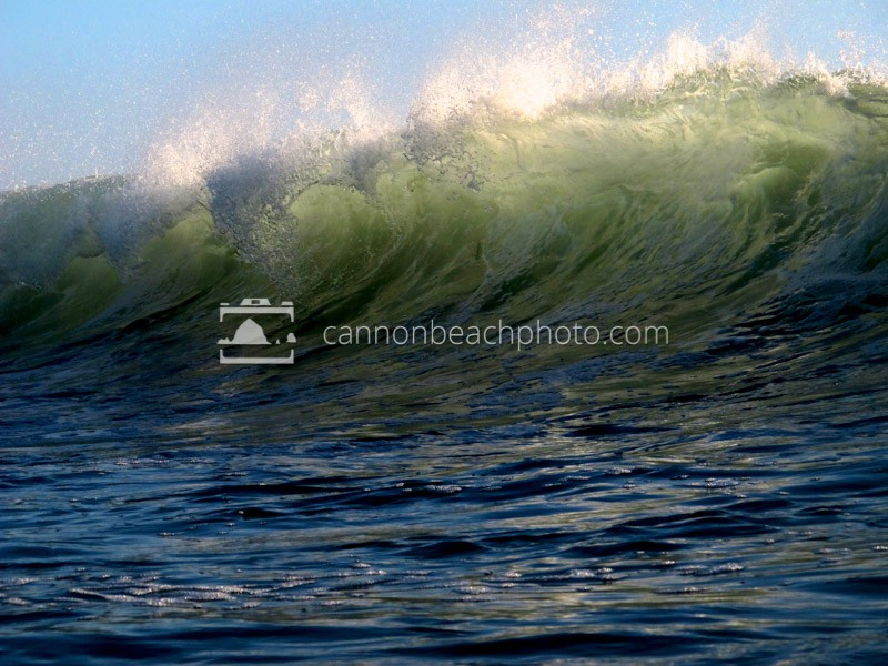 Surfing in Cannon Beach! Light catches the curl of a wave with at Indian Beach