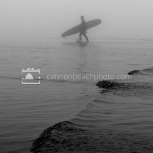 Black and White Vintage Fog Surfer