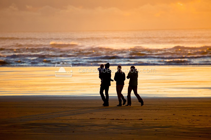 Family Walking the Oregon Coastline