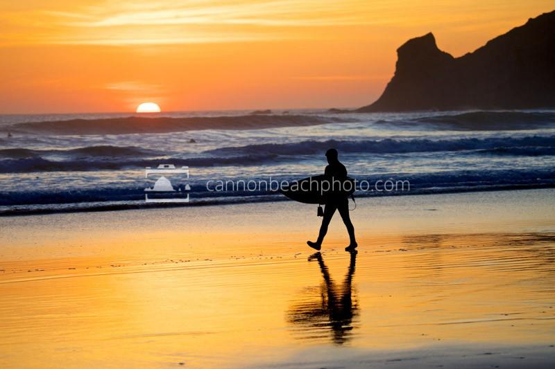 Oregon Coast Surfer Silhouette