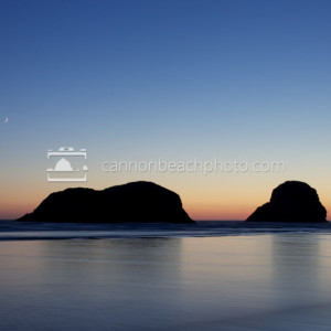 Crescent Moon Above Murre Rocks, North Cannon Beach