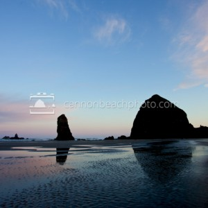 Sunrise Skies above Haystack Rock Reflected
