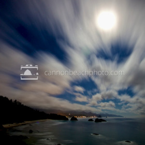 Clouds and the Night Sky above Ecola State Park on the Oregon Coast