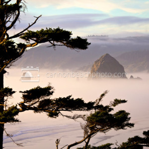 Haystack Rock in the Fog, Cannon Beach, Oregon