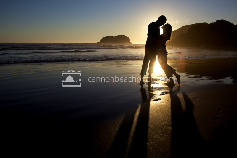 Romantic Couple Kissing on the Shore