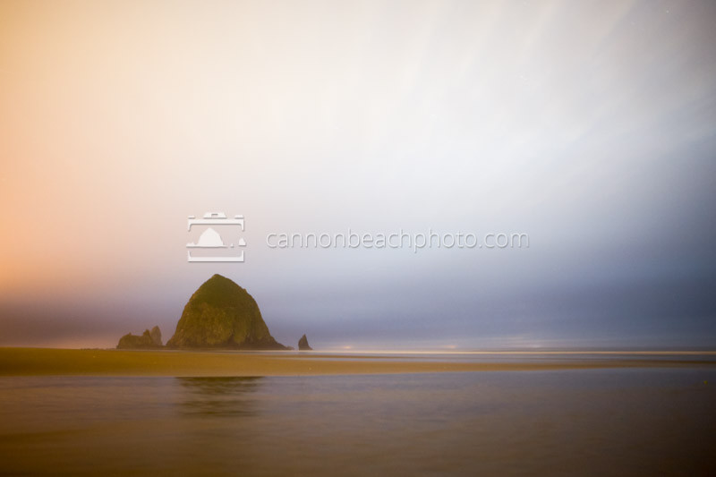 Cloudy Night Skies with Haystack Rock
