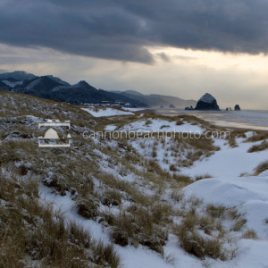 Snow in Cannon Beach, Oregon - Coastal Winter Scene