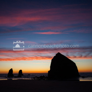 Vibrant Winter Sunset in Cannon Beach