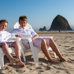 Brothers Relax on the Beach