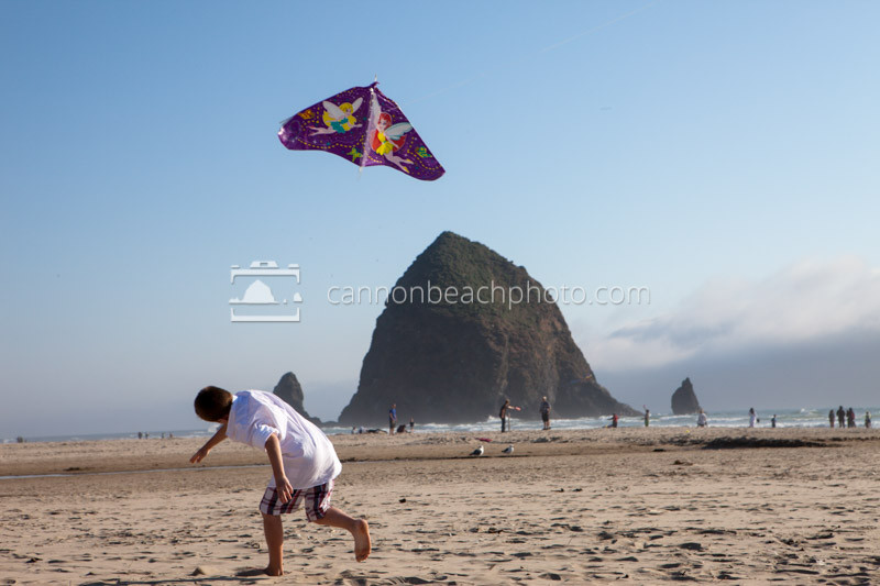 Child Plays with a Kite