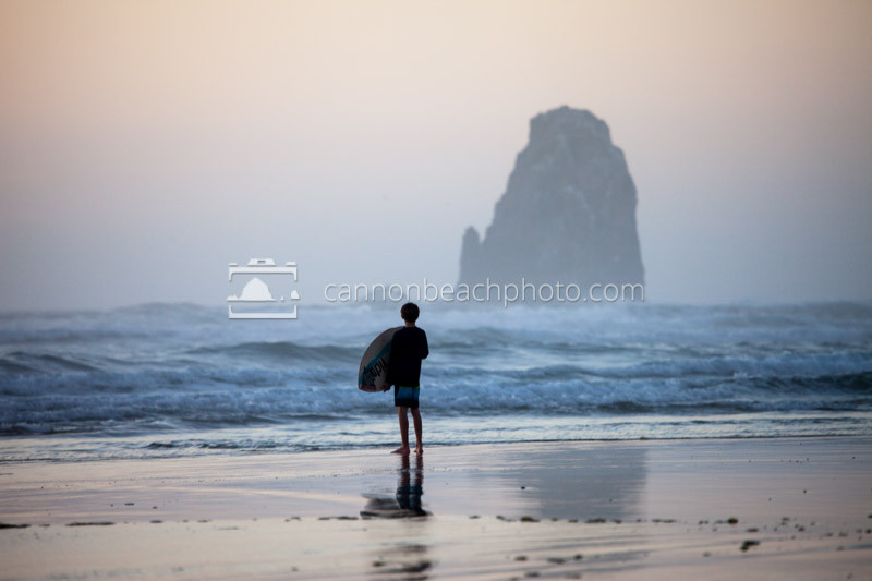 Child with Skimboard, Cannon Beach, Oregon