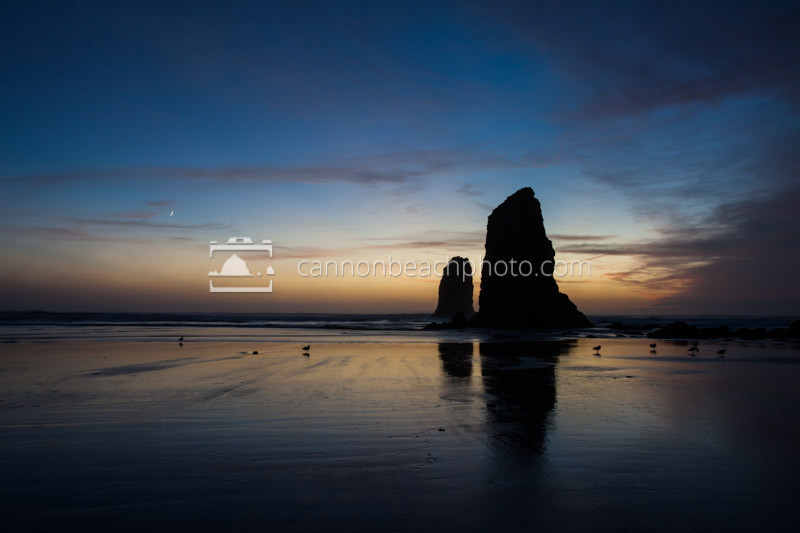 Evening Seascape, Needles and Crescent Moon