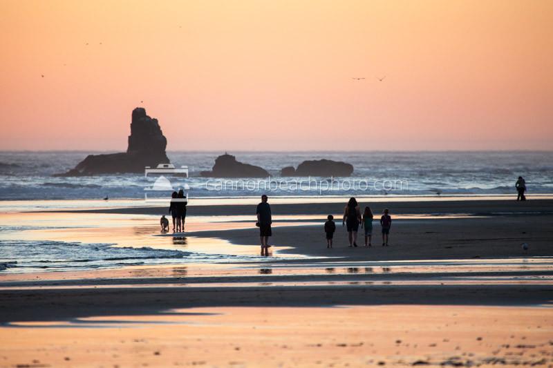 Family Beach Walk at Sunset