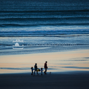 Family Walking in the Evening Glow