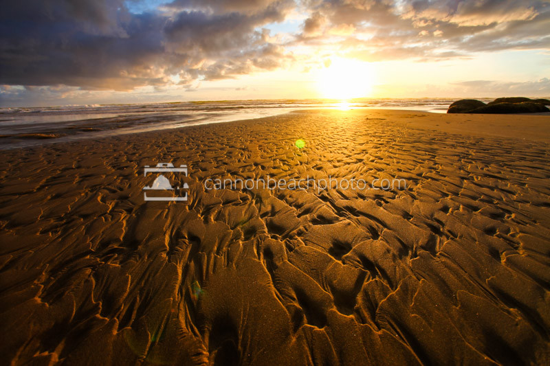 The fascinating pattern of a dry beach creek glows with the light of sunset at Hug Point State Park.