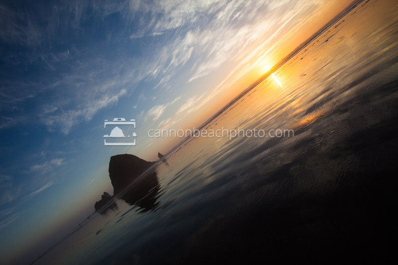 Haystack Rock Best Oregon Coast Sunset, Tilted